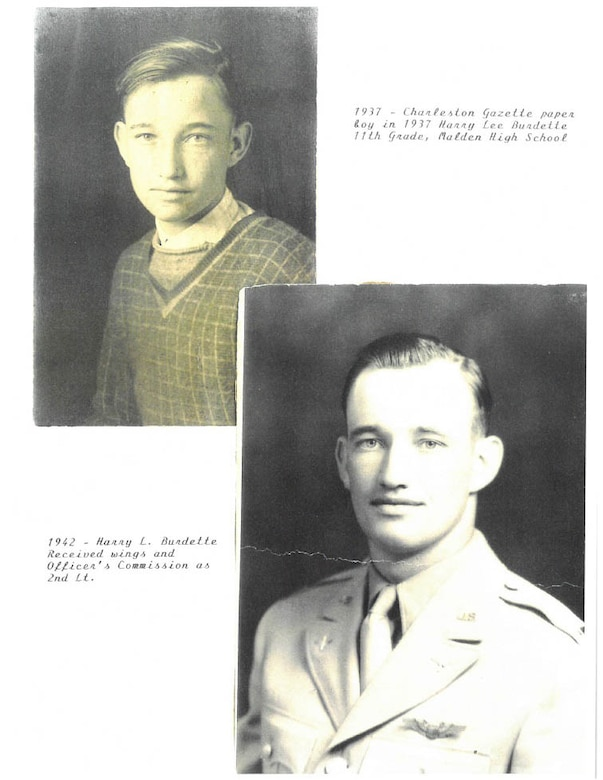 2nd Lt. Harry Burdette's portrait (right) taken in March, 1943 when he recieved his officer's commission and his pilot's wings. His photo from high school six years previous in Malden, W. Va. (Courtesy photo-Richard Burdette/Released)