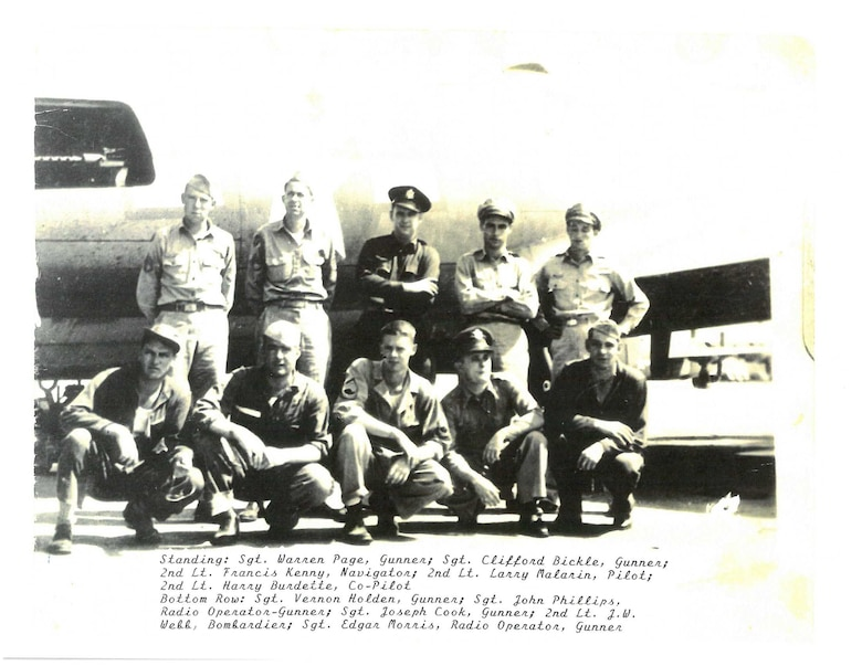 2nd Lt. Harry Burdette(top right), 379th Bombardment B-17 Flying Fortress pilot, shown here with his crew at Kimbolton, England, is the grandfather of Capt. Shawn Jensen, a E-8C Joint Surveillance Target Attack Radar System pilot with the 763rd Expeditionary Reconnaisance Squadron. His grandfatherarrived at Kimbolton in Sept. 1943 and was shot down in late Nov. during a mission over Germany.  He became a prisoner of war for the next 18 months. (Courtesy photo/Richard Burdette/Released)