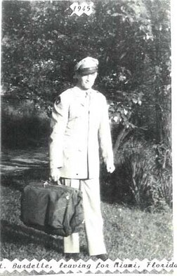 Suitcase in hand, 2nd Lt. Harry Burdette was enroute to Miami for mandatory leave given to prisoners of war. His grandson Capt. Shawn Jensen, a RC-135 Rivet Joint pilot with the 763rd Reconnaissance Wing, refers to his grandfather's diary when he needs a reminder of the sacrifices his grandfather made in captivityas a prisoner of war for 18 months in Nazi Germany. (Courtesy photo/Richard Burdette/Released)