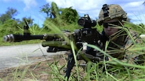 Lance Cpl. Patrick Butner, machinegunner with 2nd Battalion, 4th Marine Regiment, attached to 31st Marine Expeditionary Unit, mans an M240B machine gun position while participating in an exercise to secure Orote Airfield on U.S. Naval Base Guam during Exercise Valiant Shield. VS16 is a biennial field exercise with a primary focus on interoperability and integration of joint training among U.S. forces.