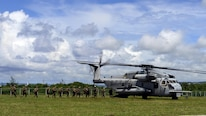 Marines with 2nd Battalion, 4th Marine Regiment, attached to 31st Marine Expeditionary Unit, board a Sikorsky CH-53E Super Stallion, assigned to Marine Medium Tiltrotor Squadron 262 (reinforced), after participating in an exercise to secure Orote Airfield on U.S. Naval Base Guam during Exercise Valiant Shield . VS16 is a biennial field exercise with a primary focus on interoperability and integration of joint training among U.S. forces.