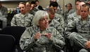 Col. Margaret Carey, 92nd Medical Group commander, asks questions to visiting Military Health System Genesis program officials September 7, 2016, at Fairchild Air Force Base, Wash. Fairchild is the sole Air Force testing site for the MHS Genesis program. (U.S. Air Force photo/Airman 1st Class Ryan Lackey)