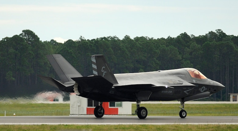 A U.S. Marine F-35 Lightning II from the Marine Fighter Attack Squadron (VMFA) 211 speeds down the runway during a 53rd Weapon Evaluation Group, Weapon System Evaluation Program at the Tyndall flightline Sept. 16, 2016. During this WSEP, VMFA 211 completed numerous sorties including the one that fired the first operational F-35  AIM-120 Advanced Medium-Range Air-to-Air Missile. (U.S. Air Force photo by Senior Airman Solomon Cook/Released)