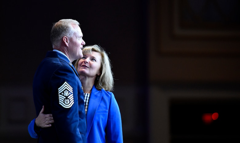 Chief Master Sgt. of the Air Force James A. Cody is joined on stage by his wife, Athena, during a session at the Air Force Association's Air, Space and Cyber Conference in National Harbor, Md., Sept. 21, 2016.  Cody's presentation focused on taking care of Airmen at all levels. (U.S. Air Force photo/Staff Sgt. Alyssa C. Gibson)