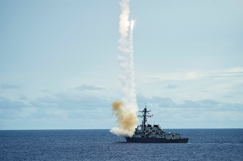 The Arleigh Burke-class guided-missile destroyer USS McCampbell (DDG 85) fires a standard missile (SM 2) at a target drone as part of a surface-to-air-missile exercise (SAMEX) during Valiant Shield 2016. Valiant Shield is a biennial, U.S. only, field-training exercise with a focus on integration of joint training among U.S. forces. This is the sixth exercise in the Valiant Shield series that began in 2006. McCampbell is on patrol with Carrier Strike Group Five (CSG 5) in the Philippine Sea supporting security and stability in the Indo-Asia-Pacific region.