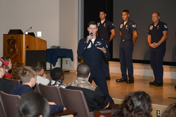 U.S. Air Force Thunderbird pilot number two, Capt. Ryan Bodenheimer, talks to students from seven local Wichita Falls, Texas, high schools and two from Dallas, during the Sheppard Air Force Base, Texas, career fair, Sept. 16, 2016. The career fair provided an opportunity for students to learn about the Air Force and the various careers it offers. (U.S. Air Force photo by Senior Airman Kyle E. Gese)