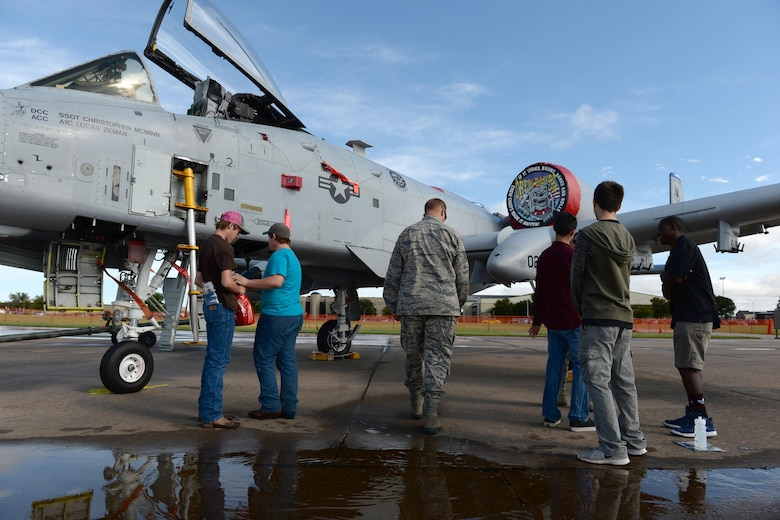 Students from seven local Wichita Falls, Texas, high schools and two from Dallas, explore the various static displays at Sheppard Air Force Base, Texas, during a career fair, Sept. 16, 2016. The career fair provided an opportunity for students to learn about the Air Force and the various careers it offers. (U.S. Air Force photo by Senior Airman Kyle E. Gese)