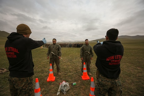 U.S. Marines with 3rd Law Enforcement Battalion, III Marine Expeditionary Force, spray Mongolian Armed Forces soldiers with oleoresin capsicum during Non-Lethal Weapons Executive Seminar (NOLES) 2016 at the Five Hills Training Area, Mongolia, Sept. 17, 2016. Mongolian soldiers and National Police were exposed to oleoresin capsicum spray and had to complete a five-level circuit course. Non-lethal weapons are designed to incapacitate equipment and personnel while minimizing fatalities and permanent injury to personnel, and undesired collateral damage to property.