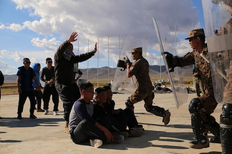 Mongolian Armed Forces soldiers and Mongolian National Police practice riot control techniques during Non-Lethal Executive Seminar (NOLES) 2016 at Five Hills Training Area, Mongolia, Sept. 20, 2016. The final portion of the field training exercise for NOLES included a riot control situation. Non-lethal weapons are designed to incapacitate equipment and personnel while minimizing fatalities and permanent injury to personnel, and undesired collateral damage to property.