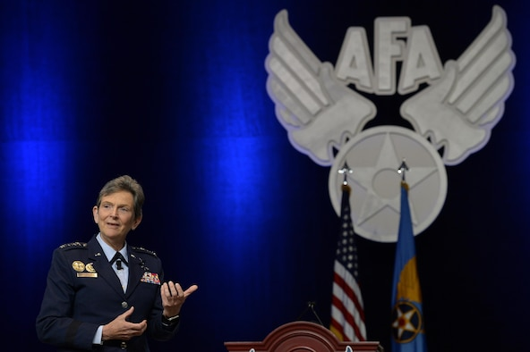 Gen. Ellen M. Pawlikowski, the Air Force Materiel Command commander, speaks to an audience during the Air Force Association's Air, Space and Cyber Conference in National Harbor, Md., Sept. 21, 2016. She spoke about the importance of cyber security. (U.S. Air Force photo/Staff Sgt. Whitney Stanfield)