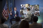 Secretary of Defense Ash Carter answers questions during a Worldwide Troop Talk at the Pentagon in Washington, D.C., Sept. 21, 2016. DoD photo by Air Force Tech. Sgt. Brigitte N. Brantley