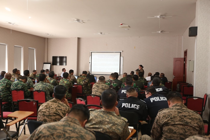 Service members from various nations listen to a welcome brief concerning the seminar portion of Non-Lethal Executive Seminar (NOLES) 2016 in Ulaanbaatar, Mongolia, Sept. 21, 2016. NOLES includes a leadership seminar hosting senior leaders from more than 17 nations. Both the United States and Mongolia have a continuing interest in strengthening their partnership with other Pacific nations, which will provide the cornerstone for security and stability in the region.