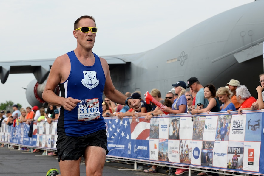 Tech. Sgt. Jonathan Peck, New Jersey, finishes strong in the Air Force Half-Marathon Sepetember 17, 2016, at Wright Patterson A.F.B, Ohio. Peck competed for the Air National Guard marathon team in the MAJCOM Challenge. (U.S. Air National Guard photo by Senior Master Sgt. Ralph Branson/Released)