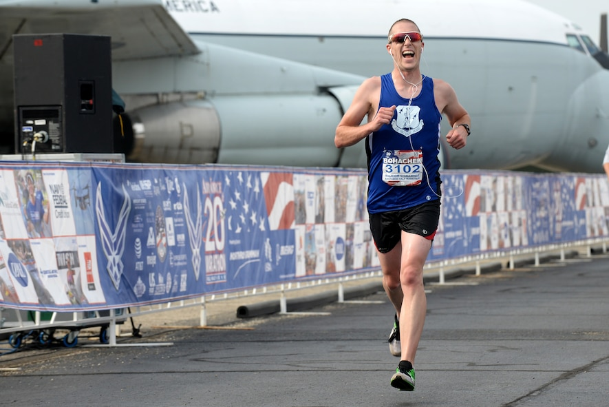 1st. Lt. Cody Bohachek, Indiana, works through the finish of the Air Force Half-Marathon Sepetember 17, 2016, at Wright Patterson A.F.B, Ohio. Bohachek competed for the Air National Guard marathon team in the MAJCOM Challenge. (U.S. Air National Guard photo by Senior Master Sgt. Ralph Branson/Released)