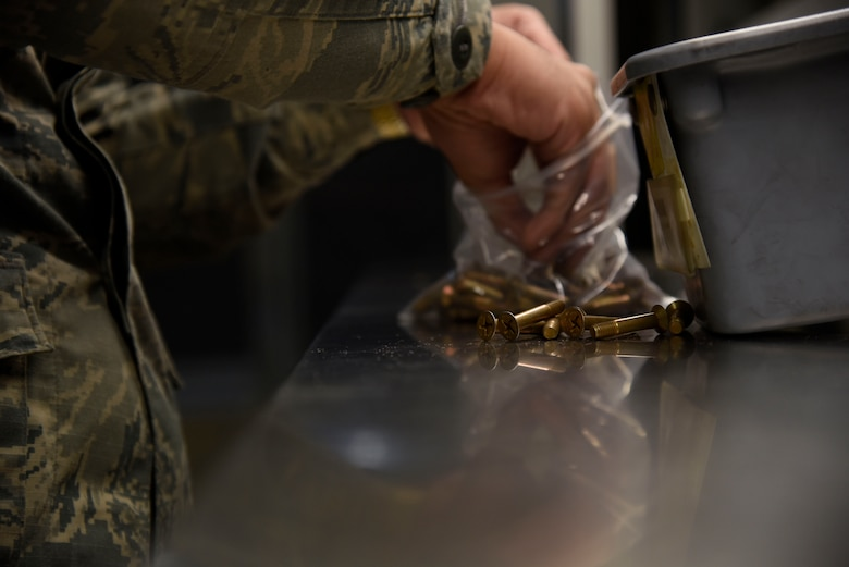U.S. Air Force Airman 1st Class Samuel San Pedro, an aircraft parts store apprentice with the 35th Logistics Readiness Squadron, inventories aircraft screws at Misawa Air Base, Japan, Sept. 20, 2016. All assets are inventoried to keep track of how many parts are on hand and to ensure none have been misplaced. (U.S. Air force photo by Airman 1st Class Sadie Colbert)