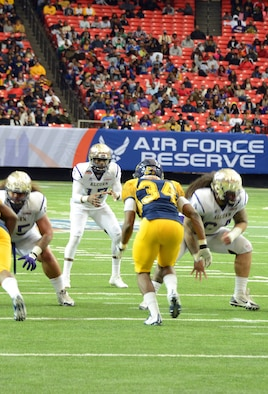 In the very first Air Force Reserve Celebration Bowl, played in December 2016 at the Georgia Dome in Atlanta, North Carolina A&T State University defeated Alcorn State University 41-34 in front of more than 35,000 fans. (Master Sgt. Chance Babin)