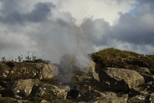 An improvised explosive device is detonated during exercise Northern Challenge 16 in Keflavik, Iceland, Sept. 19, 2016. The exercise focused on disabling IEDs in support of counterterrorism tactics to prepare Partnership for Peace, NATO and Nordic nations for international deployments and defense against terrorism. (U.S. Air Force photo/Staff Sgt. Jonathan Snyder)