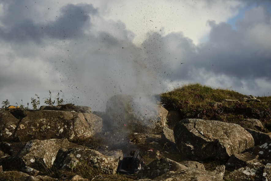 An improvised explosive device is detonated during the Northern Challenge 16 exercise at Icelandic Coast Guard Keflavik Facility, Iceland, Sept. 19, 2016. The exercise focused on disabling IEDs in support of counter-terrorism tactics to prepare Partnership for Peace, NATO, and Nordic nations for international deployments and defense against terrorism. (U.S. Air Force photo by Staff Sgt. Jonathan Snyder)