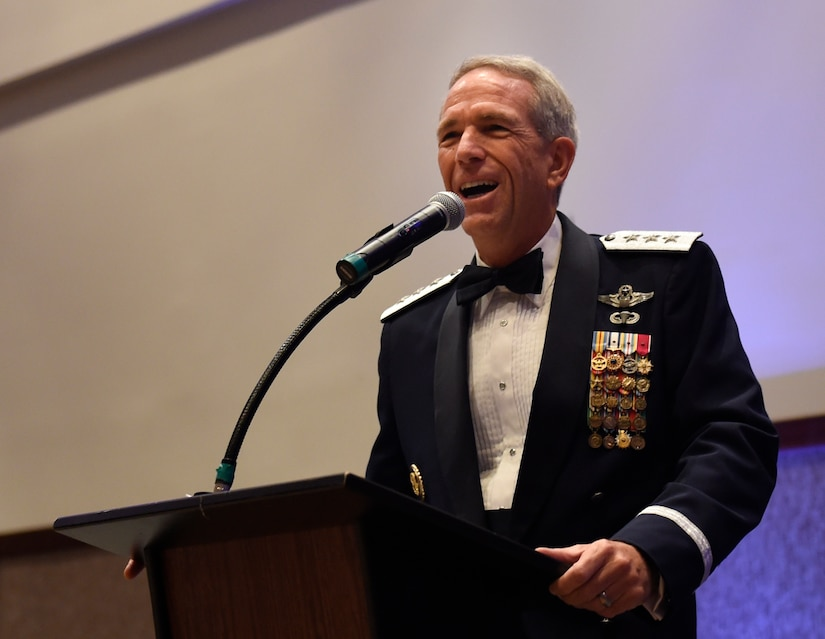 """U.S. Air Force retired Lt. Gen. Brooks L. Bash, delivers the keynote address during the 2016 Air Force Ball Sept. 19, 2016 at the Charleston Convention Center here. The theme for this year's event was, """"Profession of Arms: Forging the American Airman"""" and recognized Air Force Airmen and their families serving worldwide."""