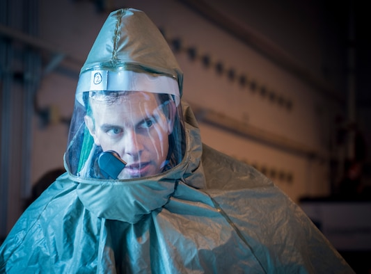 Capt. Matthew Burns, 628th Aerospace Medicine Squadron dental provider observes the patient decontamination tent during a patient decontamination exercise drill here Sept. 15, 2016. 628th MDG conducted a joint certification course with Decon L.L.C., including an intensive, three day patient decontamination exercise to prepare Air Force medical responders to save lives, provide shelter and protect facilities in times of crisis.