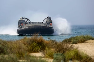 A U.S. Navy Landing Craft Air Cushioned (LCAC) with Assault Craft Unit 4 transports U.S. and international citizens during a bilateral non-combatant evacuation exercise at the U.S. Embassy, Muscat, Oman, Sept. 21, 2016. The non-combatant evacuation exercise is an opportunity for the United States and Oman to practice a bilateral mission of quickly providing security and safety to U.S. and international citizens abroad during a natural disaster or contingency.