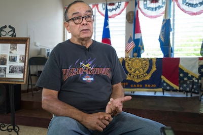 Retired Army Lt. Col. Edwin Vargas speaks about his military experience during an interview in Cabo Rojo, Puerto Rico, Aug. 10, 2016. DoD photo by EJ Hersom