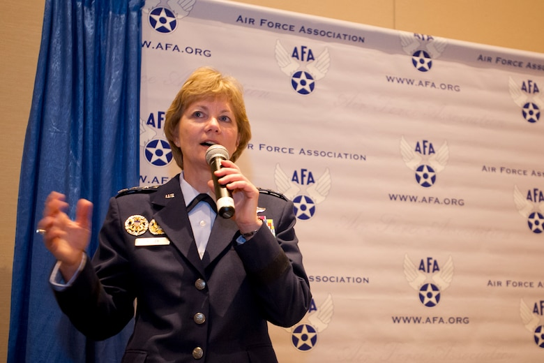 Lt. Gen. Maryanne Miller, the Air Force Reserve Command commander and chief of the Air Force Reserve, discusses protecting, building and shaping the future of the Reserve during the Air Force Association's Air, Space and Cyber Conference in National Harbor, Md., Sept. 20, 2016. (U.S. Air Force photo/Staff Sgt. Kat Justen)