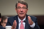 Defense Secretary Ash Carter testifies before the the Senate Armed Services Committee in Washington, Sept. 22, 2016. Carter was joined by Marine Corps Gen. Joe Dunford, chairman of the Joint Chiefs of Staff, and the two leaders discussed national security challenges, military operations and their concerns over the potential of an eigth continuing resolution heading into fiscal year 2017. DoD photo by Navy Petty Officer 2nd Class Dominique A. Pineiro