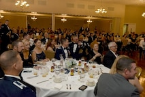 Members of Team Seymour attend a ball held for the Air Force's 69th birthday, Sept. 17, 2016, at Seymour Johnson Air Force Base, North Carolina. The event also highlighted the 60th anniversary of the reactivation of Seymour Johnson AFB. (U.S. Air Force photo by Miranda A. Loera)