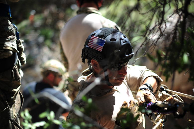 A pararescueman from the 48th Rescue Squadron ensures the safety of a rope system at the Coronado National Forest in Tucson, Ariz., Sept. 16, 2016. The 48th RQS provides highly trained experts capable of executing personnel recovery operations across the spectrum of conflict.