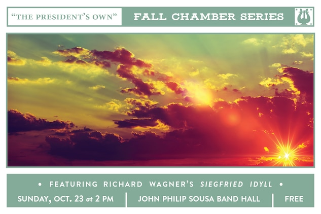 """""""The President's Own"""" Fall Chamber Series concert will take place at 2 p.m. (EDT), Sunday, Oct. 23, in the John Philip Sousa Band Hall at the Marine Barracks Annex, located at 7th & K Streets, SE, in Washington, D.C. Selections include Georg Philipp Telemann's Trio Sonata in G minor; Ludwig van Beethoven's String Quartet No. 10 in E-flat, Opus 74, Harp; and Richard Wagner's Siegfried Idyll. Free parking is available under the overpass on 7th Street and the concert will also stream live on the Marine Band website."""