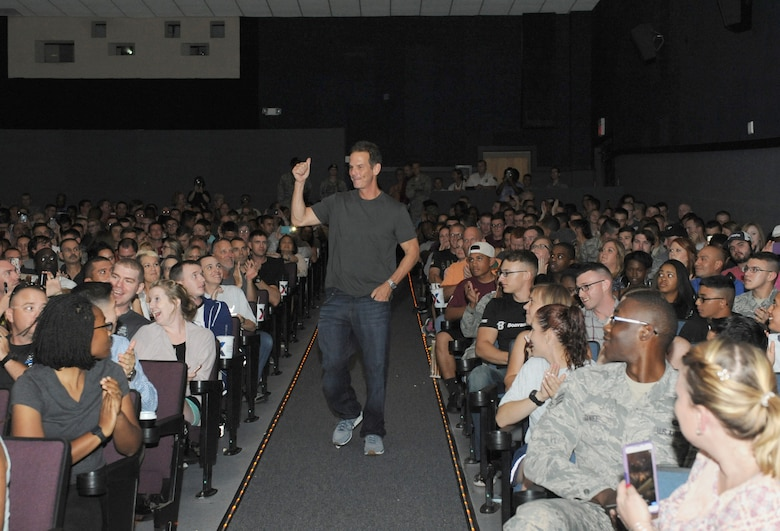 Peter Berg, Deepwater Horizon director, walks into the Welch Theater before the Deepwater Horizon movie screening Sept. 20, 2016, on Keesler Air Force Base, Miss. Before the screening, Kurt Russell, Kate Hudson, Deepwater Horizon actors, and Berg took a short tour of the 81st Training Wing and 403rd Wing to meet with Airmen and learn about their missions at Keesler. (U.S. Air Force photo by Kemberly Groue/Released)