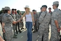 Kate Hudson, Deepwater Horizon actress, meets with 336th Training Squadron Airmen at the Levitow Training Support Facility drill pad before the Deepwater Horizon movie screening Sept. 20, 2016, on Keesler Air Force Base, Miss. Before the screening, actor Kurt Russell, Hudson and movie director, Peter Berg, took a short tour of the 81st Training Wing and 403rd Wing to meet with Airmen and learn about their missions at Keesler. (U.S. Air Force photo by Kemberly Groue/Released)