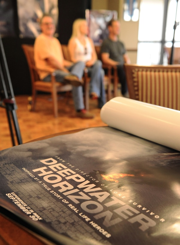 A Deepwater Horizon movie poster sits on a table at the Bay Breeze Event Center before the Deepwater Horizon movie screening Sept. 20, 2016, on Keesler Air Force Base, Miss. Before the screening, Kurt Russell, Kate Hudson, Deepwater Horizon actors, and movie director, Peter Berg, took a short tour of the 81st Training Wing and 403rd Wing to meet with Airmen and learn about their missions at Keesler. (U.S. Air Force photo by Kemberly Groue/Released)