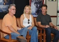 Kurt Russell, Kate Hudson, Deepwater Horizon actors, and Peter Berg, Deepwater Horizon director, participate in an interview at the Bay Breeze Event Center before the Deepwater Horizon movie screening Sept. 20, 2016, on Keesler Air Force Base, Miss. Before the screening, Russell, Hudson and Berg took a short tour of the 81st Training Wing and 403rd Wing to meet with Airmen and learn about their missions at Keesler. (U.S. Air Force photo by Kemberly Groue/Released)