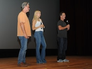 Kurt Russell, Kate Hudson, Deepwater Horizon actors, and Peter Berg, Deepwater Horizon director, speak to movie-goers at the Welch Theater before the Deepwater Horizon movie screening Sept. 20, 2016, on Keesler Air Force Base, Miss. Before the screening, Russell, Hudson and Berg took a short tour of the 81st Training Wing and 403rd Wing to meet with Airmen and learn about their missions at Keesler. (U.S. Air Force photo by Kemberly Groue/Released)