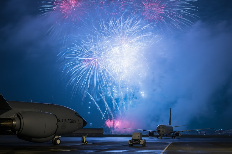 Fireworks light the sky at Yokota Air Base, Japan, during the 2016 Japanese-American Friendship Festival Sept. 18, 2016. Thousands of people attend the festival every year to learn more about the U.S. military and American culture. (U.S. Air Force photo/Senior Airman Delano Scott)