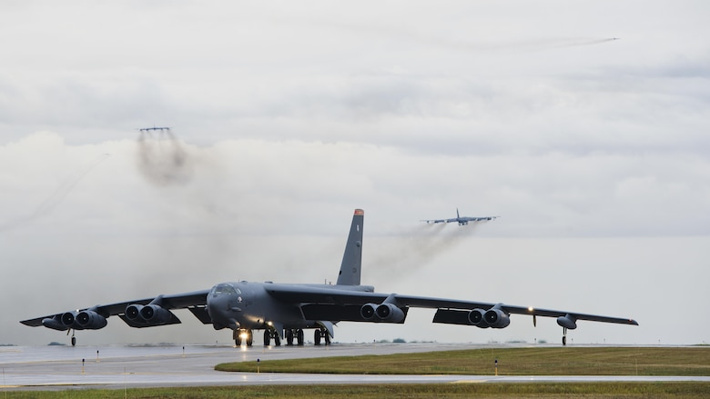 A B-52H Stratofortress taxis down the runway during Prairie Vigilance 16-1 at Minot Air Force Base, N.D., Sept. 16, 2016. As one leg of U.S. Strategic Command's nuclear triad, Air Force Global Strike Command's B-52s at Minot AFB, play an integral role in nation's strategic deterrence. (U.S. Air Force photo/Airman 1st Class J.T. Armstrong)