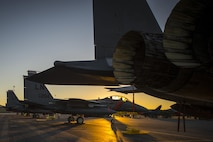 F-15E Strike Eagles, assigned to the 494th Fighter Squadron from Royal Air Force Lakenheath, England, rest on the flightline at Los Llanos Air Base, Spain, Sept. 16, 2016. During Tactical Leadership Programme 16-3, U.S. service members trained side by side with NATO allies and partners, preparing them to meet future security challenges as a unified force. (U.S. Air Force photo/Staff Sgt. Emerson Nuñez)