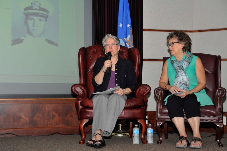 Sandie Anderson, left, and Martha Geiger, cousins of Navy Lt. James B. Mills, a radar intercept operator who was listed as missing in action, Sept. 21, 1966, speak during an MIA/POW event, Sept. 14, 2016, at McConnell Air Force Base, Kan. The women attended to share the story of their cousin and how they've dealt with losing him. (U.S. Air Force photo/Airman Erin McClellan)
