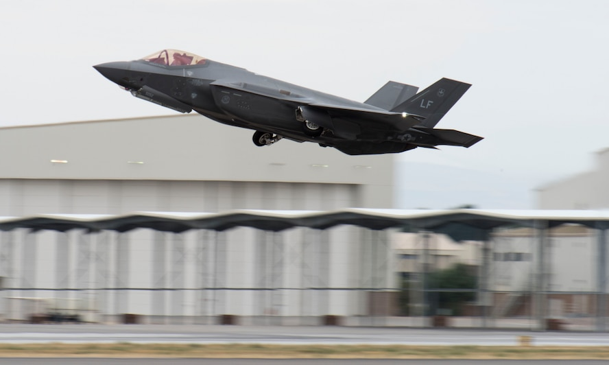 An F-35 Lightning II takes off Sept. 13, 2016, at Mountain Home AFB, Idaho. Luke sent jets to Mountain Home AFB because it provides a unique opportunity for developing proficiency in the destruction of surface-to-air threats at their range complex. (U.S. Air Force photo by Senior Airman Jeremy L. Mosier)