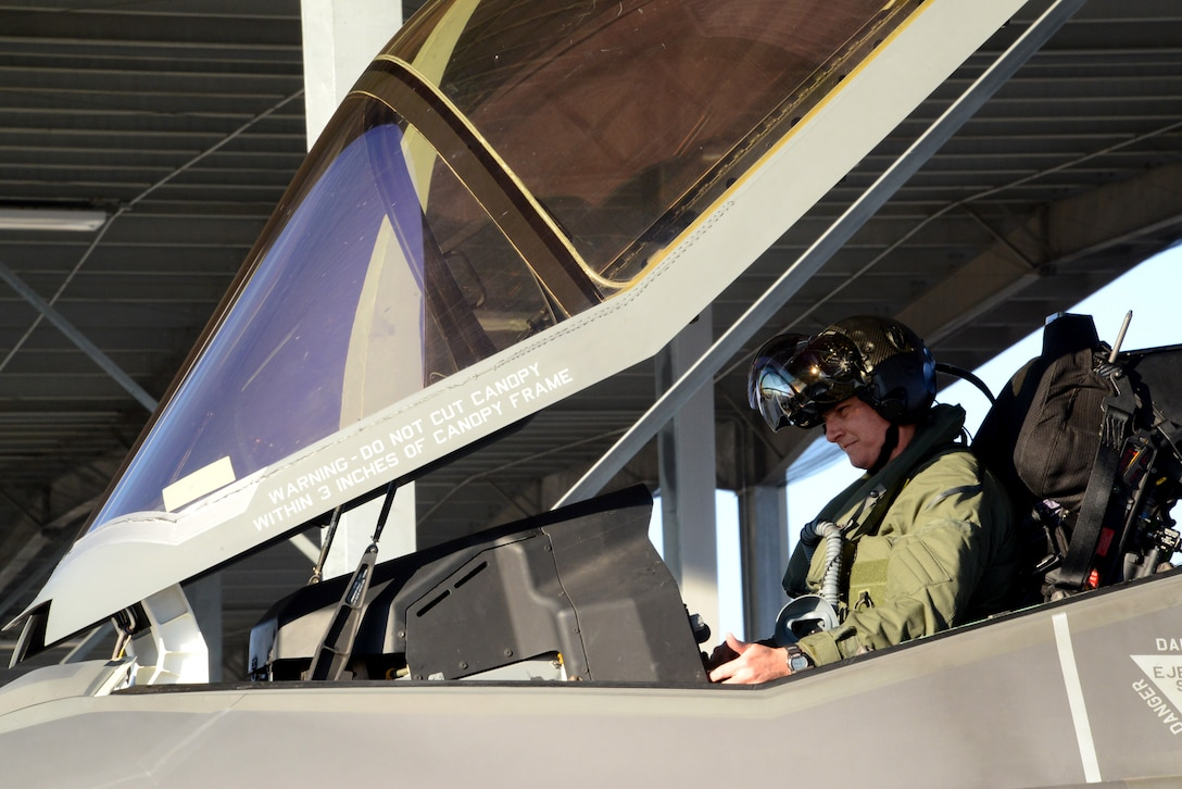 Royal Australian Air Force SQD LDR David Bell, 61st Fighter Squadron instructor pilot, prepares to fly an F-35 Lightning II Sept. 16, 2016, at Mountain Home Air Force Base, Idaho. Luke sent jets to Mountain Home AFB because it provides a unique opportunity for developing proficiency in the destruction of surface-to-air threats at their range complex. (U.S. Air Force photo by Tech. Sgt. Timothy Boyer)