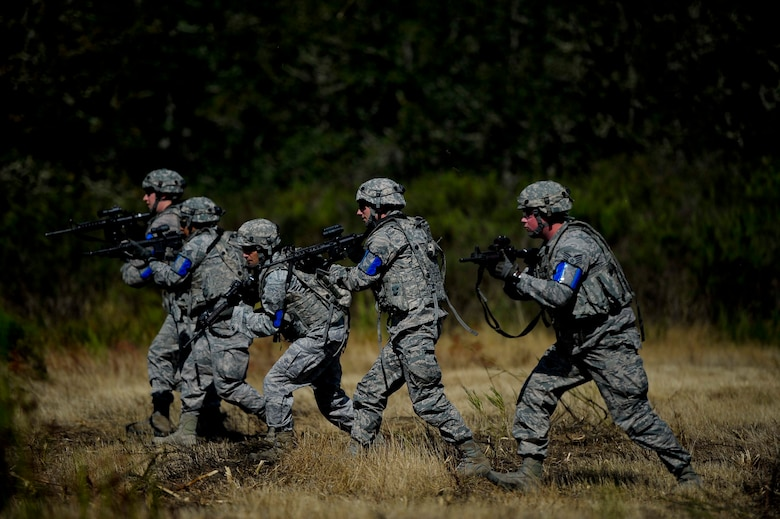 Security Forces Squadron Airmen from the 446th Airlift Wing at Joint Base Lewis-McChord participate in a field training exercise to simulate combat conditions when deployed. (U.S. Air Force Reserve photo by Staff Sgt. Daniel Liddicoet)