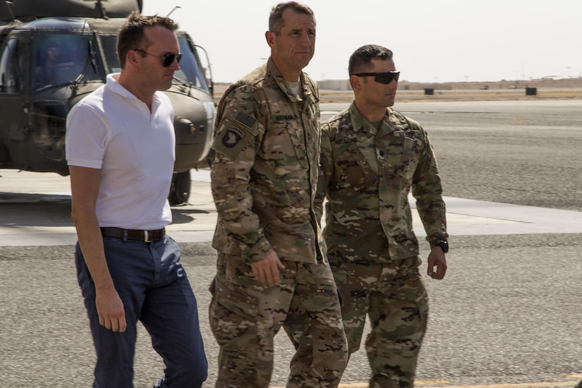 U.S. Army Secretary Eric Fanning, from left, Maj. Gen. William Hickman, the  U.S. Army Central commanding general for operations and Lt. Col. Christopher Leung, commander of the 123rd Support Battalion, 3rd Armored Brigade Combat Team, 1st Infantry Division, arrive September 19 at Camp Buehring, Kuwait to meet with U.S. Army Central Soldiers. The visit was the first for the top Army civilian since swearing in to the position in May 2016. (U.S. Army photo by Sgt. Brandon Hubbard)