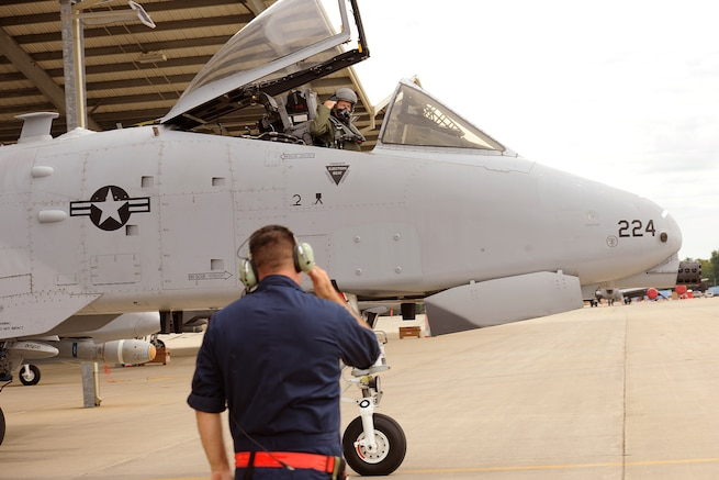 160921-Z-EZ686-026 -- Brig. Gen. John D. Slocum, 127th Wing commander, salutes the crew chief marshaling the A-10 thunderbolt II he is flying during flight operations at Selfridge Air National Guard Base, Mich., on Sept. 21, 2016. The Michigan Air National Guard's 127th Wing has been named the top flying unit in the Air National Guard and awarded with the Carl A. Spaatz Award, which is presented annually to the overall outstanding flying unit in the ANG.  (U.S. Air National Guard photo by MSgt. David Kujawa/Released)