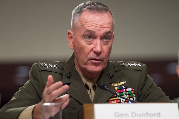 Marine Corps Gen. Joe Dunford, chairman of the Joint Chiefs of Staff, provides testimony to the Senate Armed Services Committee in Washington, D.C., Sept. 22, 2016. DoD photo by Navy Petty Officer 2nd Class Dominique A. Pineiro