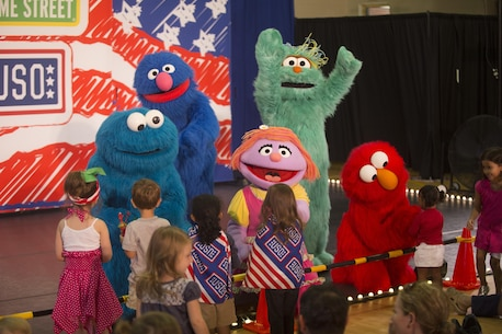 Military children and their families were treated to a live Sesame Street show hosted by the USO at Building AS-4000 on Marine Corps Air Station New River, Sept. 9. The Sesame Street/USO experience was designed to help families deal with the many challenges of military life including frequent moves.