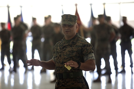 Sgt. Maj. Nicholas Deabreu, incoming sergeant major of Headquarters and Headquarters Squadron, speaks with the squadron at a Post and Relief Ceremony at Marine Corps Air Station New River, Sept. 16. Deabreu challenged the marines of H&HS to give everything they have each day when they come to work.