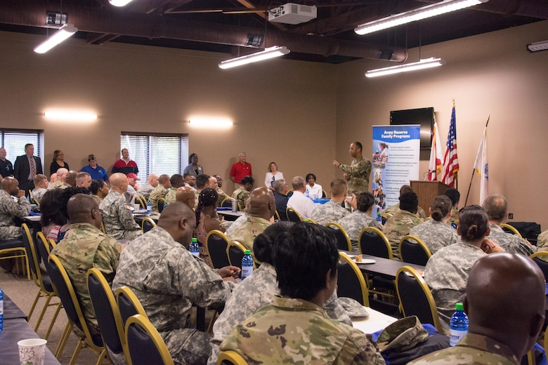 REDSTONE ARSENAL, Ala. – Maj. Gen. A.C. Roper, commander of the 80th Training Command, addresses participants of the Family Readiness and Resiliency Fair held here Sept. 10, 2016. During his opening speech, Roper, who attended the event with his wife Edith, said, while the Army Reserve requires a lot from its Soldiers, family support is a critical component of Soldiers' success.