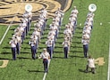 Elements of the 1st Infantry Division Band perform with The West Point Band during a halftime show Sept. 10 at Michie Stadium in West Point, New York. The collaboration between West Point and 1st Inf. Div. was in part to honor the division during the Black Knights football game against the Rice Owls.